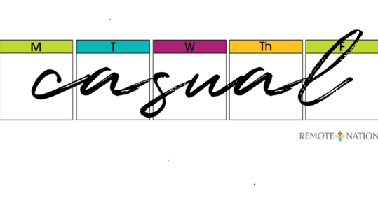 The graphic shows a calendar with casual written across it.