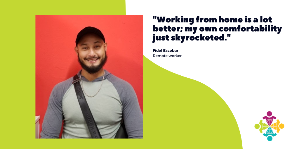 The picture shows Fidel Escobar, realtor who discusses hiw remote work experience.