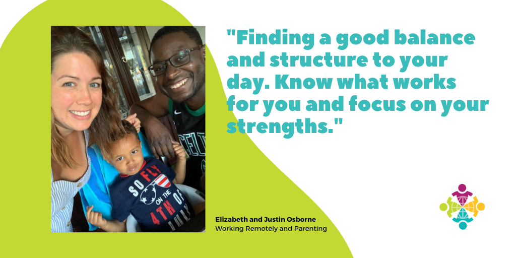 The picture shows remote workers Elizabeth and Justin Osborne and their son, Ethan.